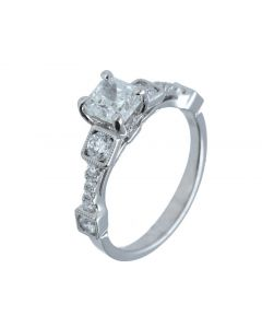 1.01ct Radiant & 0.55 Round Diamond 18k WG Ring -202318