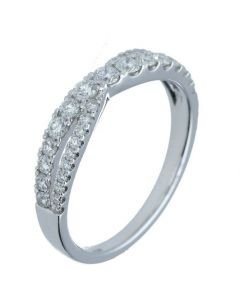 0.57ct Round Diamond 18k White Gold Bands - 202406