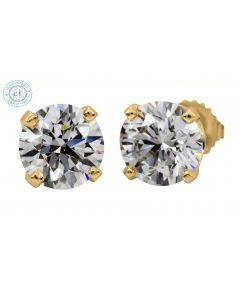 2.10ct t.w.t.Round Diamond Stud in 14K Yellow Gold