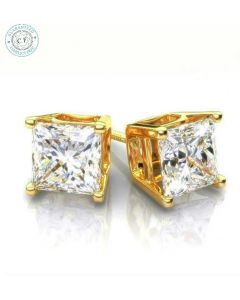 2.40ct t.w.t Princess Cut Diamond Stud Earring in 14K Yellow Gold