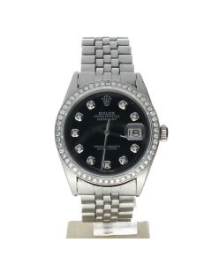 Rolex DateJust 36 Stainless-steel 1601 Black Dial Men's 36-mm Automatic-self-wind Sapphire crystal. Swiss Made Wrist Watch