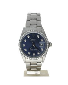 Rolex Date 34 Stainless-steel 1500 Blue Dial Men's 34-mm Automatic-self-wind Sapphire crystal. Swiss Made Wrist Watch