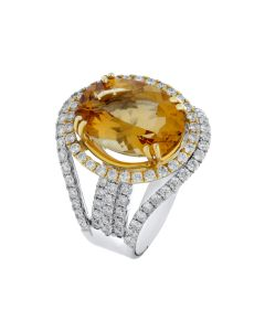 5.18ct Citrine & 1.48ct White Diamond 14K WG Ring - 187563