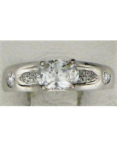 One CZ Oval & 0.20ct Round Diamond 18k WG Rings - 187565