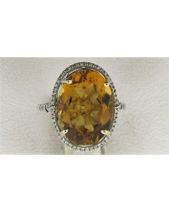 9.54ct Citrine & 0.30ct Round Diamond 14k WG Rings - 187595