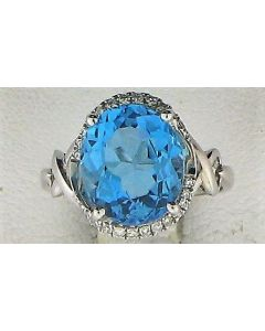 6.28ct Blue Topaz & 0.17ct Round Diamond 14k WG Rings - 187609