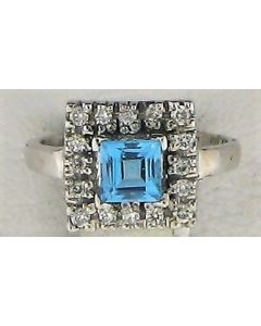 0.90ct Blue Topaz & 0.25ct Round Diamond 14k WG Rings -187612
