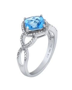 2.07ct Blue Topaz Cushion & 0.26ct Round Diamond 14k WG Rings - 187613