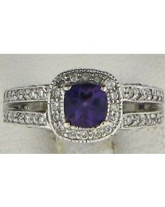 1.08ct Amethyst & 1.08ct Round Diamond 14k WG Rings - 187617