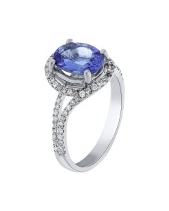 1.56ct Tanzanite & 0.41ct Round Diamond 18k WG Rings - 187618