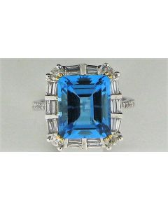 7.74ct Blue Topaz & 1.15ct Round & Tapper Baguette Diamond 14k WG Rings - 187621