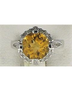 3.74ct Citrine & 0.38ct White Round Diamond 10k WG Rings - 187623