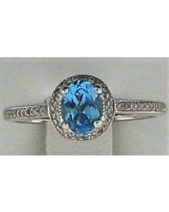1.08ct Blue Topaz & 0.21ct White Round Diamond 14k WG Rings - 187632