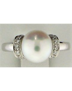 9.50mm Pearl & 0.09ct Round Diamond 14k WG Rings - 187635