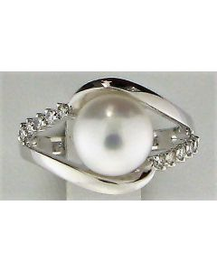 9.10mm Pearl & 0.15ct Round Diamond 14k WG Rings -187636