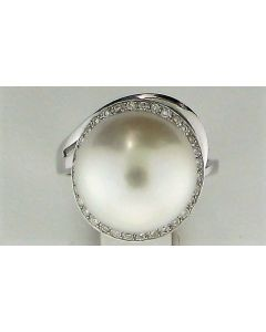 14mm Pearl Round & 0.22ct Round Diamond 14k WG Rings -187637