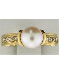 7.50mm Pearl & 0.13ct Round Diamond 14k YG Rings -187644