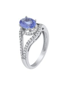 1.23ct Tanzanite Oval & 0.36ct Round Diamond 14k WG Rings