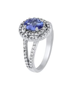1.44ct Oval  Tanzanite and Round White Diamond  14k WG Rings - 187706