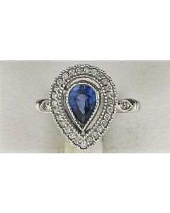 0.29ct Pear  Sapphire and Round White Diamond  14k WG Rings - 187709