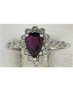 0.15ct Pear  Ruby and Round White Diamond  14k WG Rings - 187710