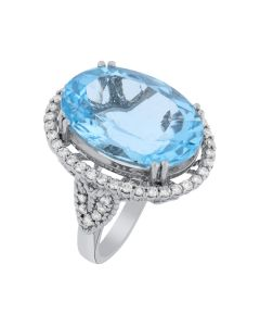 0.75ct Oval  Blue Topaz and Round White Diamond  14k WG Rings - 187712