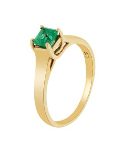 0.64 Ct. T.W. Emerald Stone Solitaire Ring in 14 Karat Yellow Gold