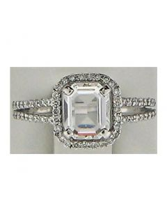 One CZ Emerald and 0.60ct Round 18k WG Rings - 187763