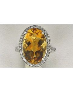 11.50ct Citrine & 0.28ct White Diamond 14k WG Rings-187789
