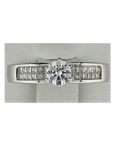 One Round CZ stone & 0.30 ct Round Diamond 18k WG Rings - 187795