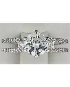One Round CZ and 0.33ct Round Stone 18k WG Rings - 187808