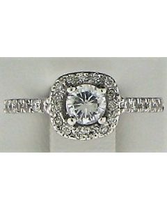 2mm CZ & 0.48ct Round Diamond 14k WG Rings -187810