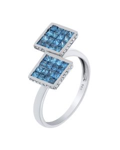 1.10 Ct. T.W. Princess Blue Diamond Ring In 14 Karat White Gold