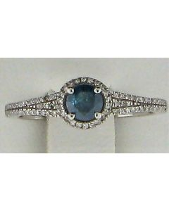 0.39ct Blue Diamond & 0.11ct Round White Diamond 14k WG Rings