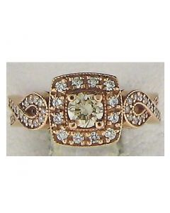 0.66cts  Round Diamond 14k Rose Gold Rings - 187827