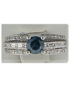 0.65ct Blue & 0.42ct Round & 0.22ct Baguette Diamond Platinum Rings - 187639