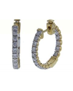 1.28 ct. t.w. Diamond Hoops in 14 Karat Yellow Gold ($7222 VALUE)