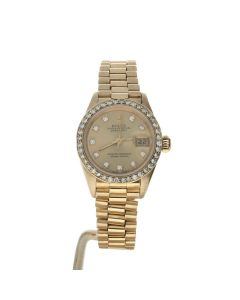 Rolex DateJust 26 Yellow-gold 69178 Champagne Dial Women's 26-mm Automatic-self-wind Sapphire crystal. Swiss Made Wrist Watch