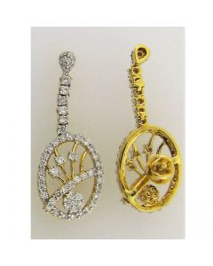 Cluster Style Earring 1.74ct Diamond & 1.74ct Round in 18k YG