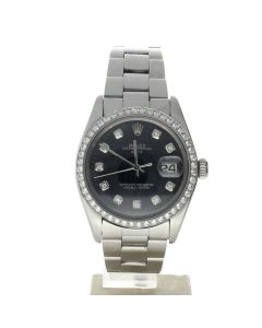 Rolex Date 34 Stainless-steel 1500 Black Dial Women's 34-mm Automatic-self-wind Sapphire crystal. Swiss Made Wrist Watch