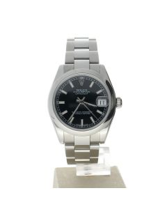 Rolex Datejust 31 Stainless-steel 178240 Black Dial Women's 31-mm Automatic-self-wind Sapphire crystal. Swiss Made Wrist Watch
