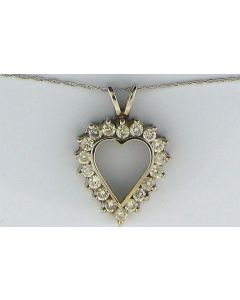 Heart Shape Pendant 0.75ct Diamond & 0.75ct Round in 14k WG
