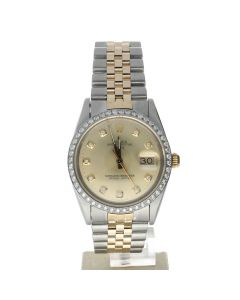 Rolex Date 34 Stainless-steel 15053 Champagne Dial Women's 34-mm Automatic-self-wind Sapphire crystal. Swiss Made Wrist Watch