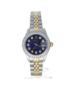 Rolex Datejust 26 Stainless-steel 69173 Blue Dial Women's 26-mm Automatic-self-wind Sapphire crystal. Swiss Made Wrist Watch
