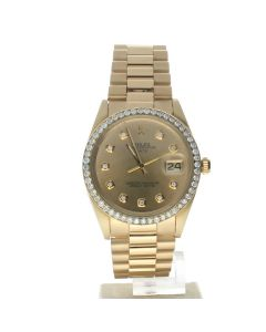 Rolex Date 34 Yellow-gold 1503 Gold Dial Mens 34-mm Automatic self-wind Sapphire crystal. Swiss Made Wrist Watch