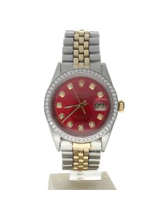 Rolex DateJust 36 Stainless-steel 1601 Red Dial Mens 36-mm Automatic self-wind Sapphire crystal. Swiss Made Wrist Watch