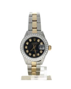 Rolex DateJust 26 Stainless-steel 6917 Black Dial Womens 26-mm Automatic self-wind Sapphire crystal. Swiss Made Wrist Watch