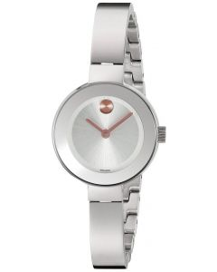 Movado Bold Stainless-steel 3600284 Silver Dial Womens 25-mm Quartz Sapphire crystal. Swiss Made Wrist Watch