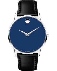 Movado Classic Museum Stainless-steel 0607313 Blue Dial Mens 40-mm Quartz Sapphire crystal. Swiss Made Wrist Watch