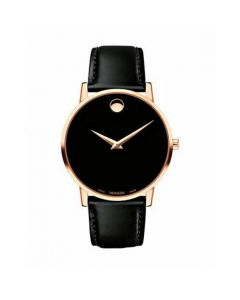 Movado Museum Classic Rose Gold-tone Stainless Steel 0607315 Black Dial Mens 40-mm Quartz Sapphire crystal. Swiss Made Wrist Watch